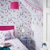 GIRLS WALLPAPER THEMED BEDROOM UNICORN STARS HEART GLITTER