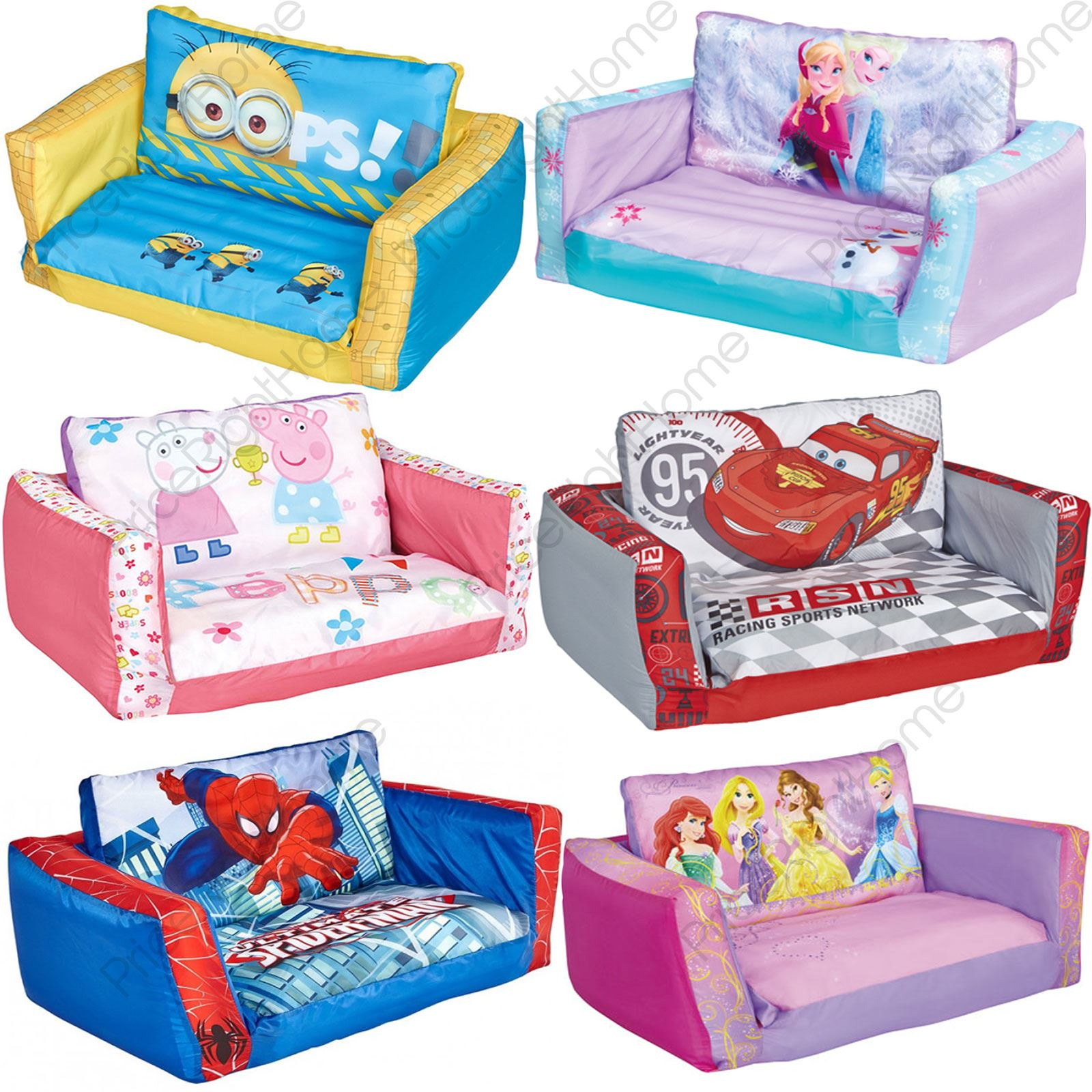 Flip Out Sofa Inflatable Kids Minions Frozen Paw Patrol Peppa Pig Ebay
