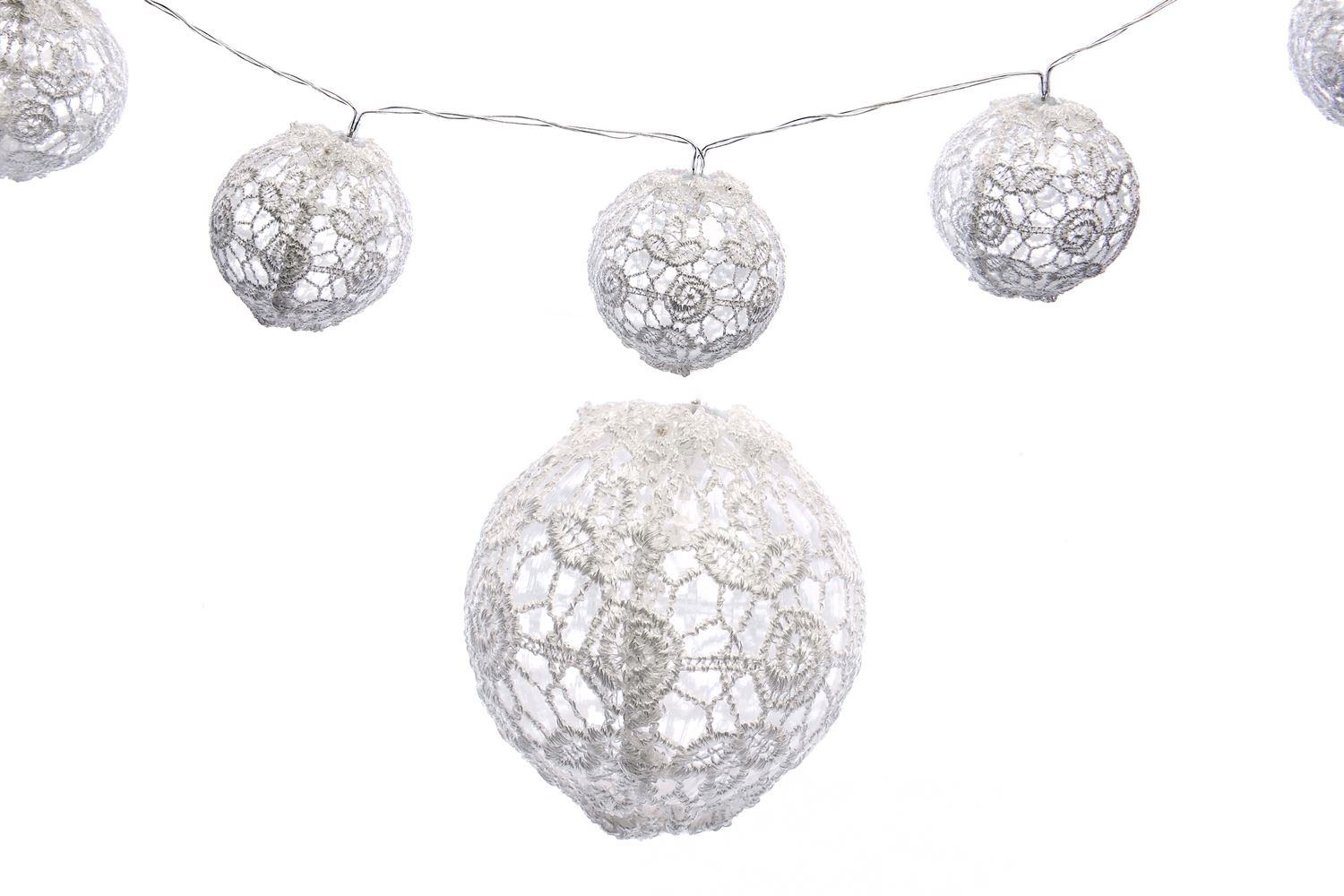 Battery Operated 10 Piece Led Lace Bauble Ball Garland