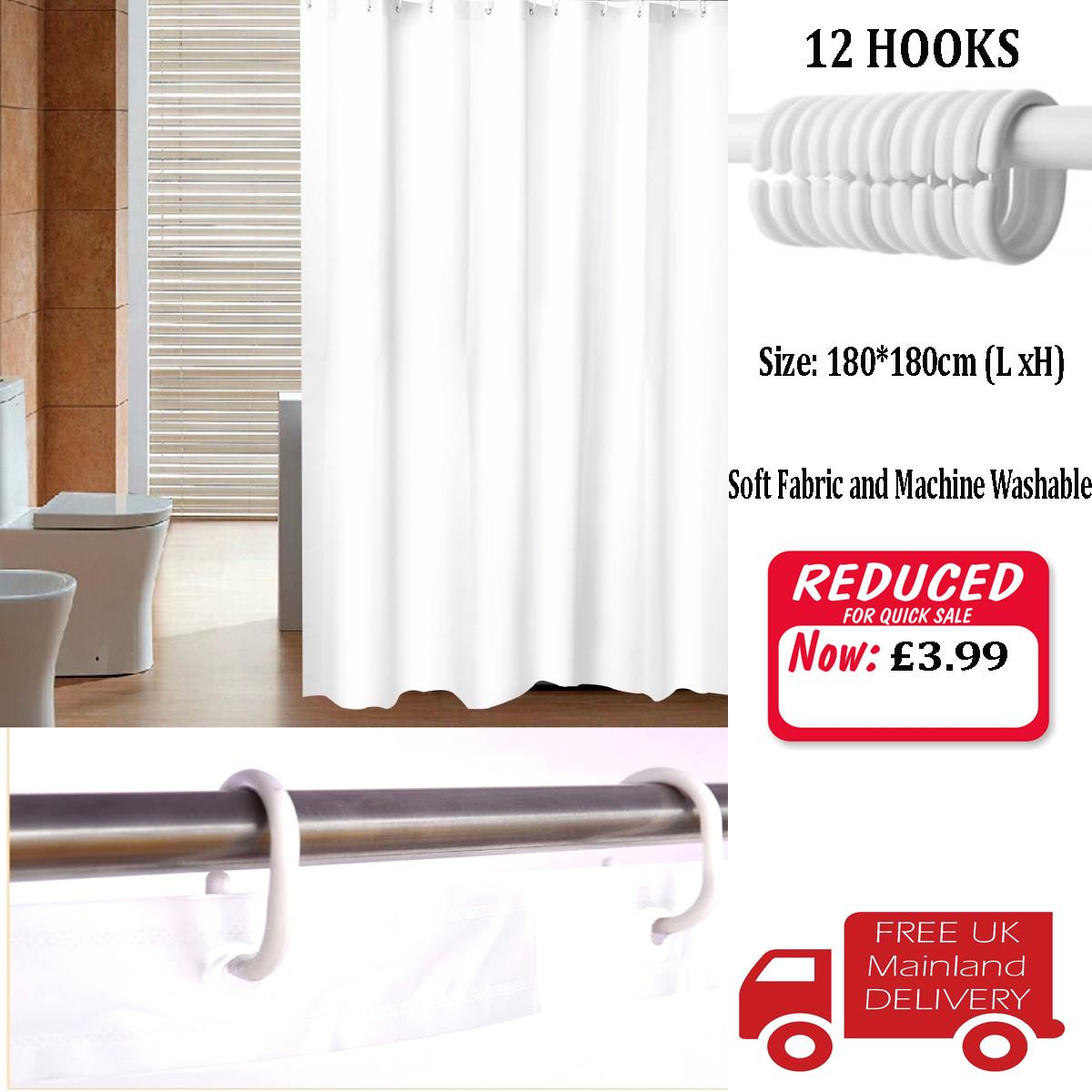 Details About Waterproof Fabric White Bathroom Shower Curtain Plain With Hooks Ring Extra Long