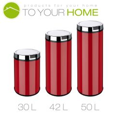Red Kitchen Trash Can What To Clean Grease Off Cabinets Dihl Round Mono White Black Cream Waste