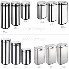Kitchen Trash Can Dimensions Lowes Remodel Reviews Dihl Rectangle And Round Automatic Waste Sensor Bins