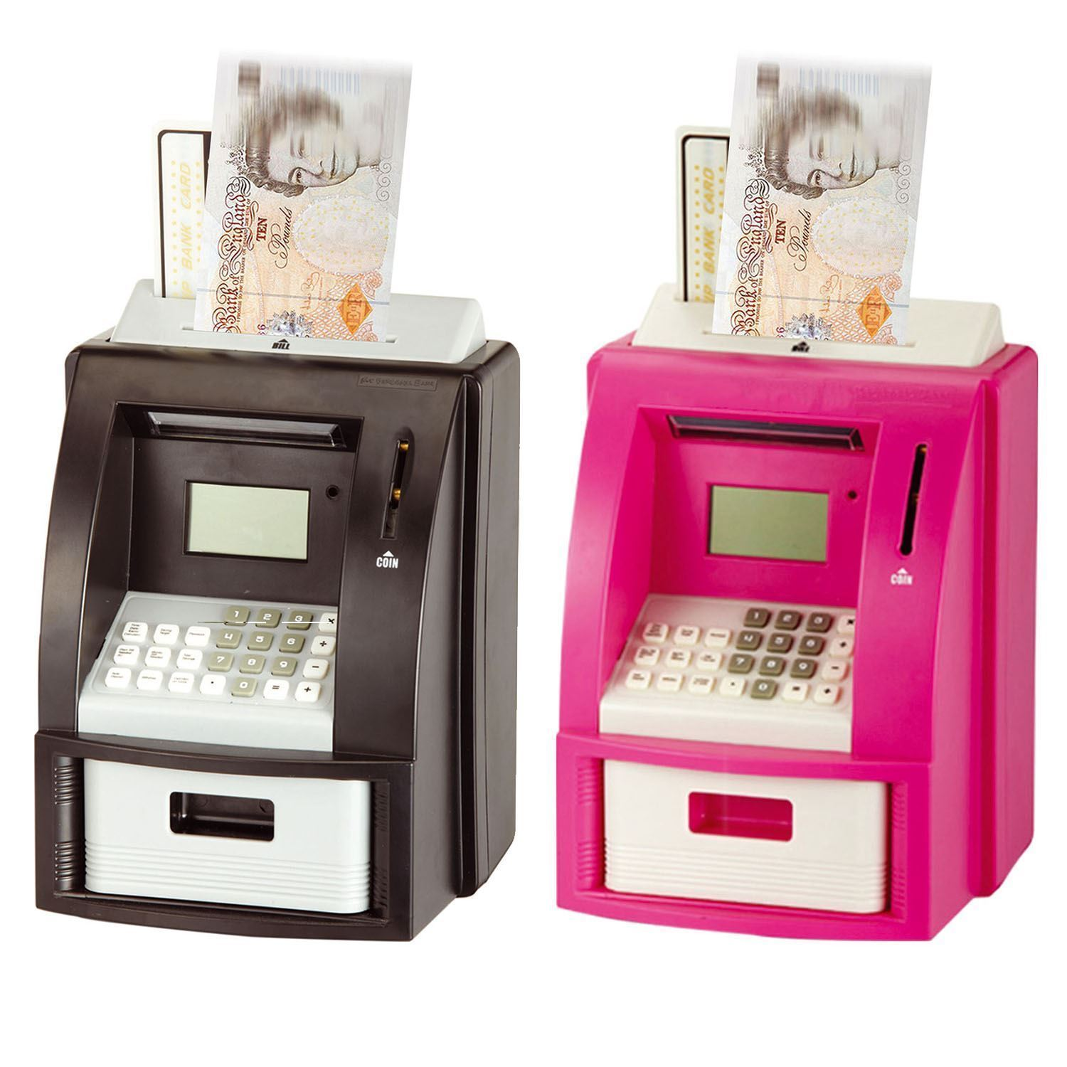 Pink Or Black Electric Coin Atm Money Counting Savings
