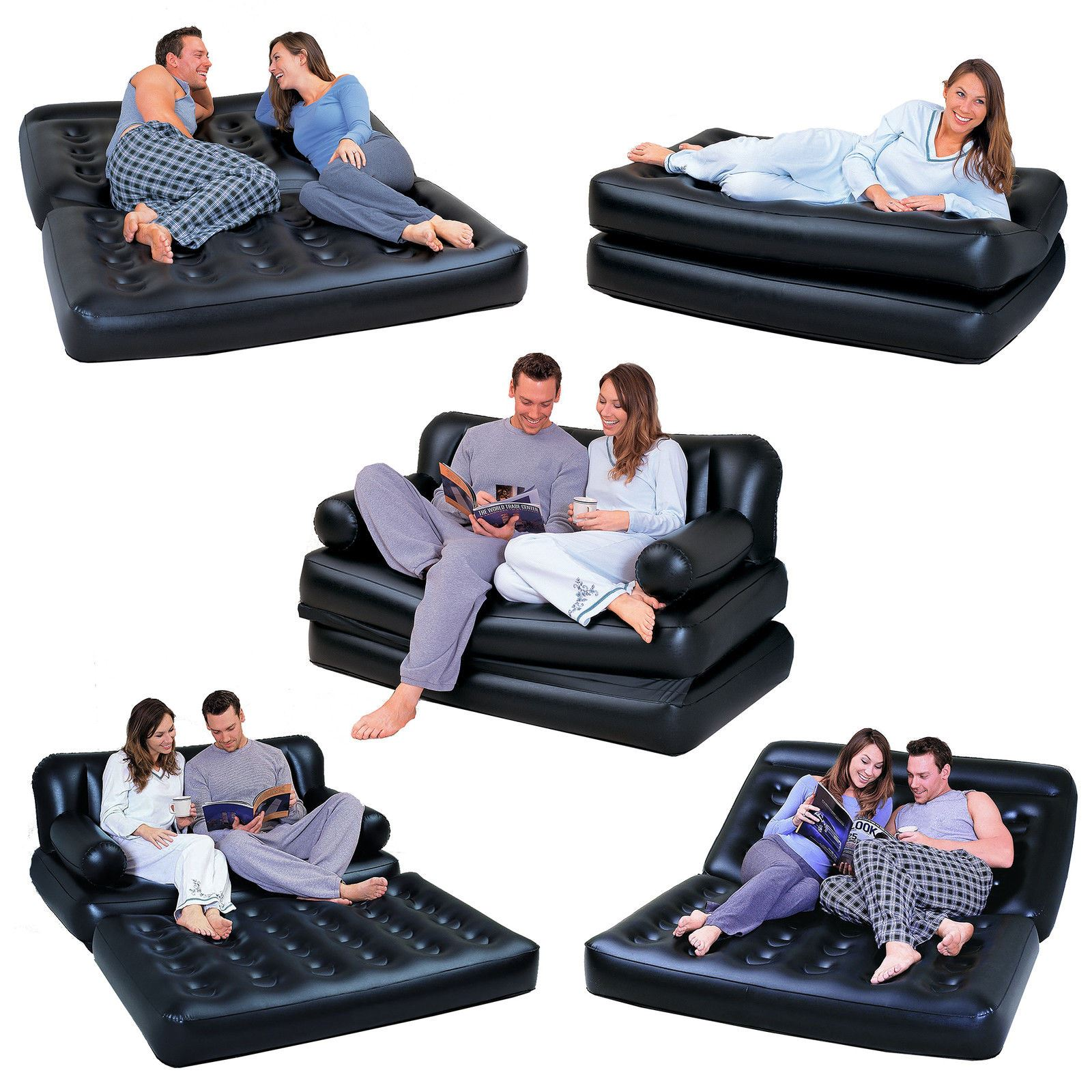 sofa bed bestway 5 in 1 how to patch a tear leather new double black inflatable air chair couch