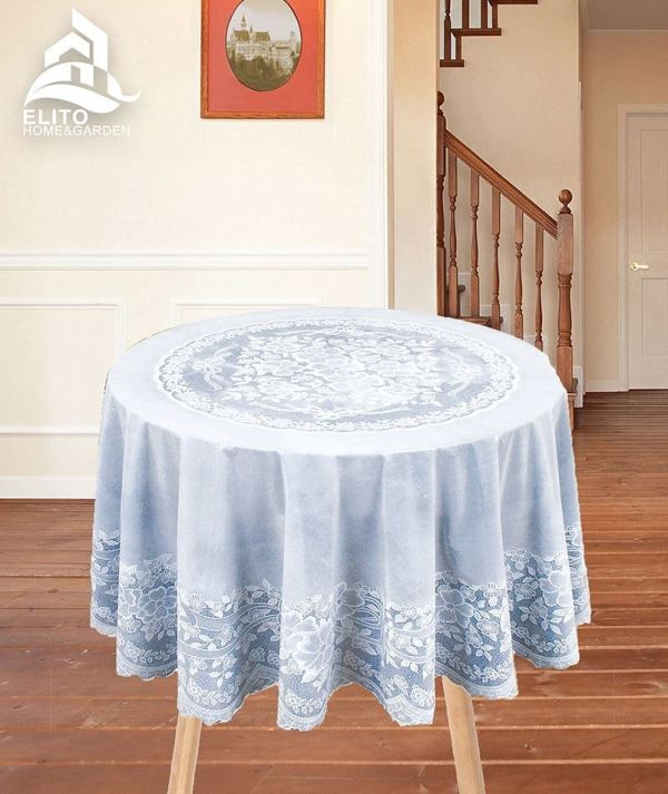 Vinyl Jacquard Design Embossed Lace Tablecloth Cover