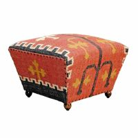 Upholstered Ottoman Tapered Seat Coffee Table or Footstool ...