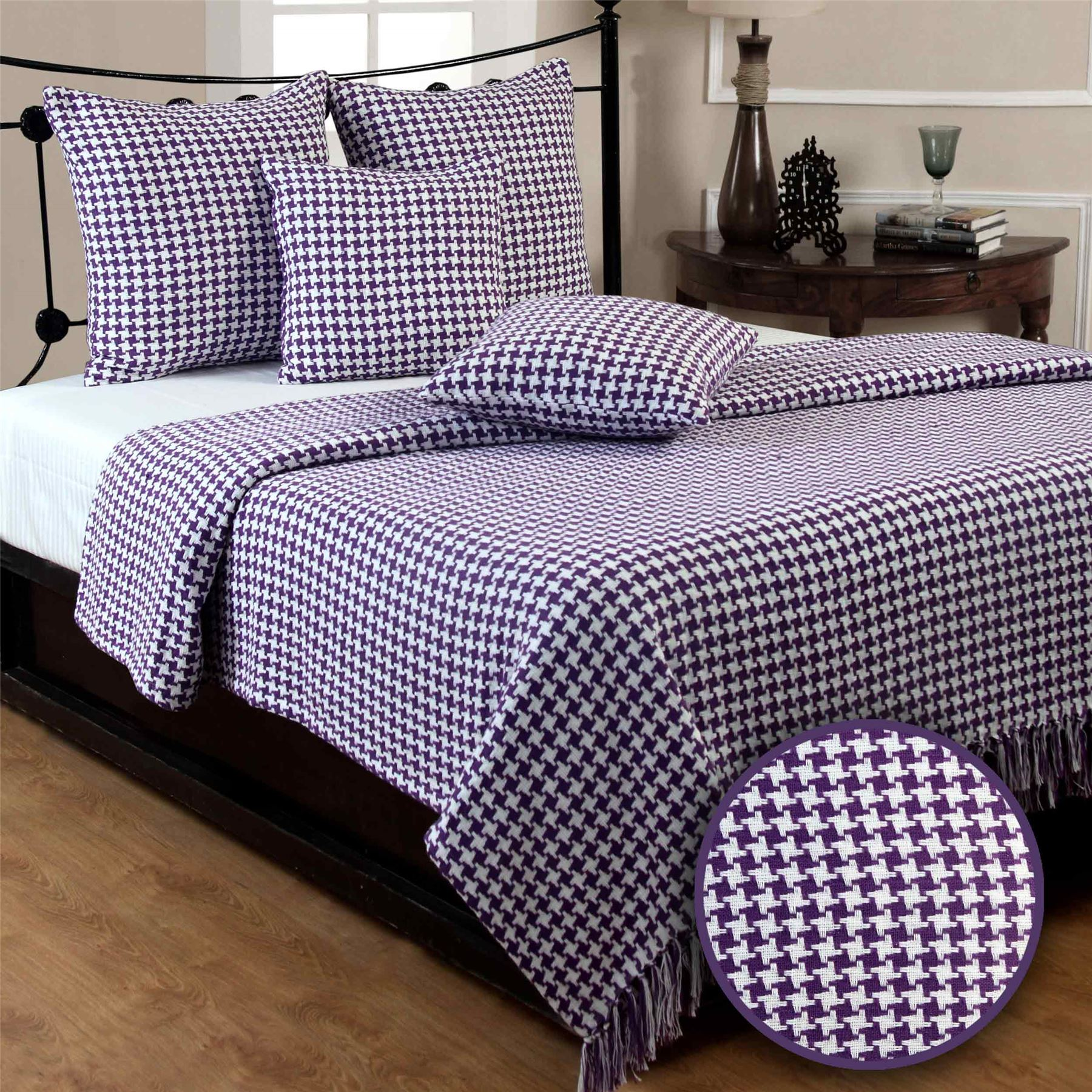 xl sofa throws heavy duty houndstooth cotton check extra large bed