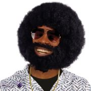 mens black afro wig beard lionel