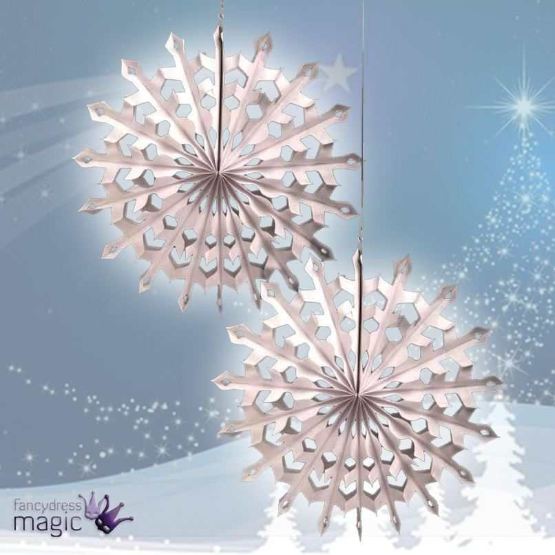 set 2 large white honeycomb snowflakes christmas fan hanging christmas decorations - Large Honeycomb Christmas Decorations