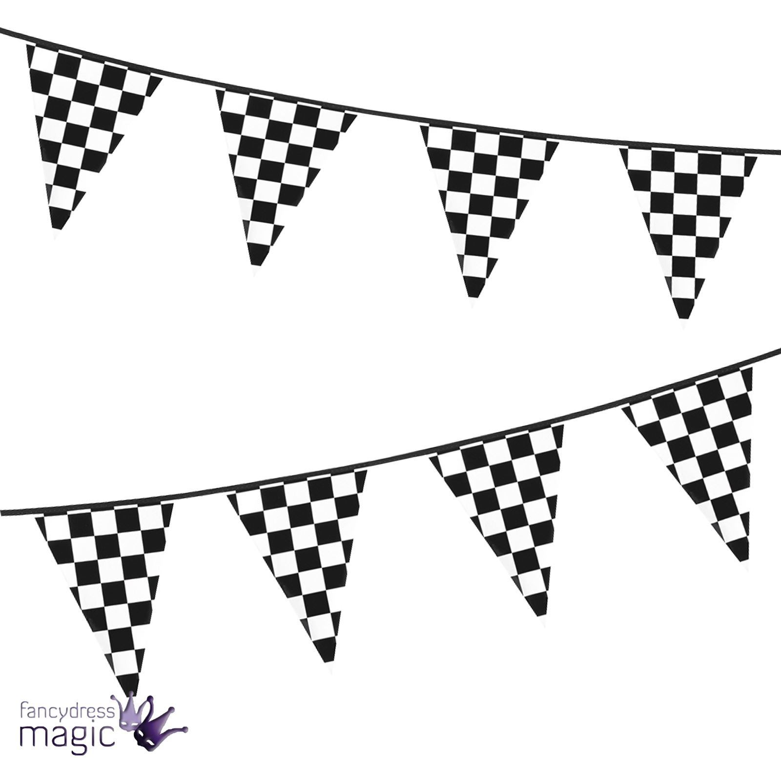 6M Chequered Flag Pennant Bunting F1 Motorsport Racing
