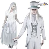 Ladies Mens Couples Halloween White Ghost Bride Groom ...