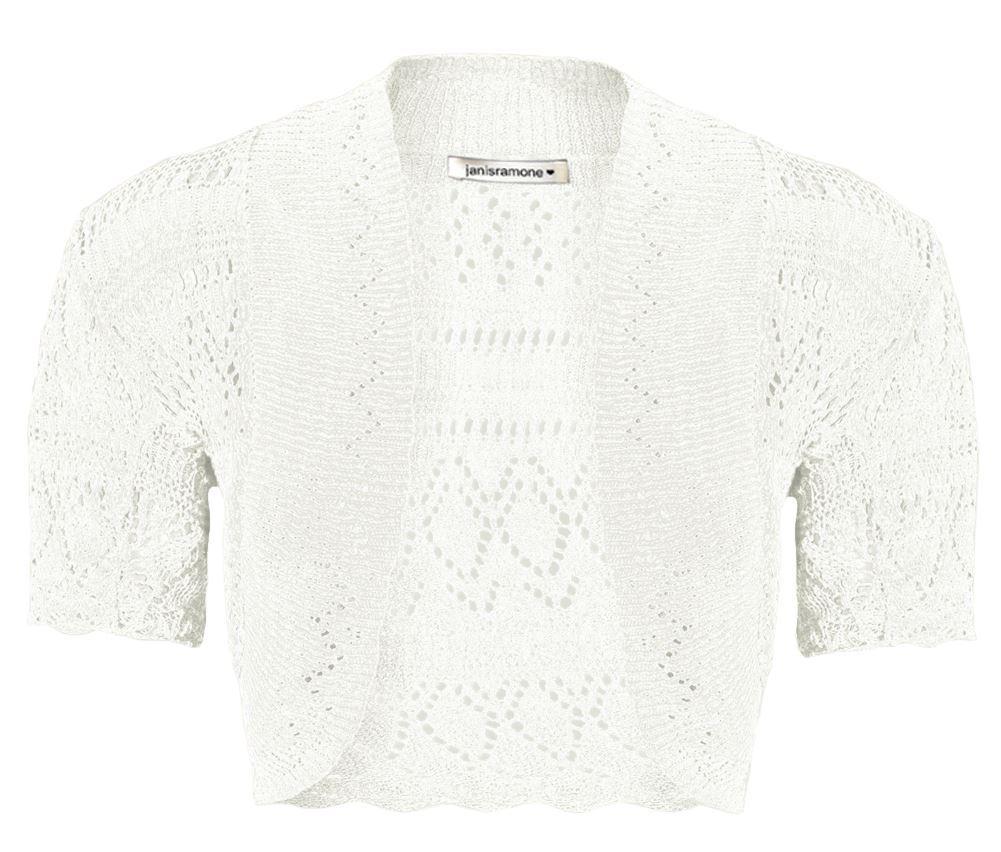 New Girls Kids Short Sleeve Crochet Knitted Bolero Shrug