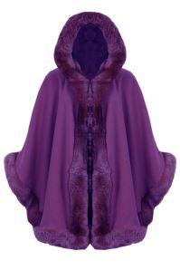New Womens Ladies Faux Fur Trim Hooded Cape Poncho Wrap ...