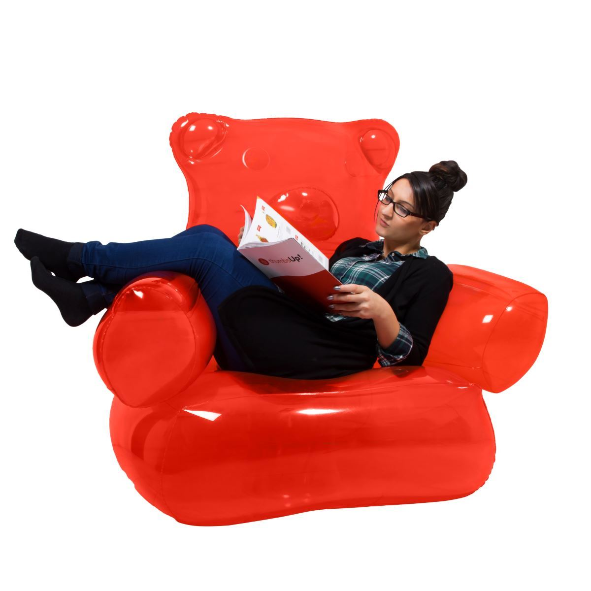 inflatable chairs for adults school chair back gummy bear red with foot pump kids