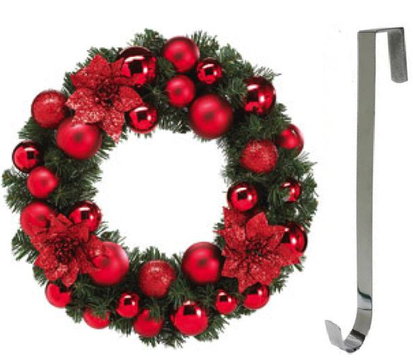 Metal Silver Colour Wreath Hanger Christmas Door