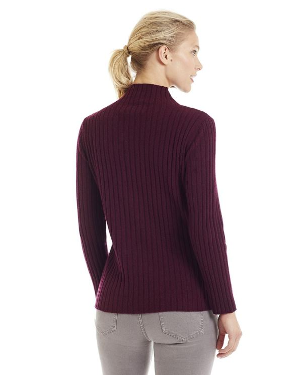 Invisible World Women' 100 Cashmere Sweater Ribbed Mock
