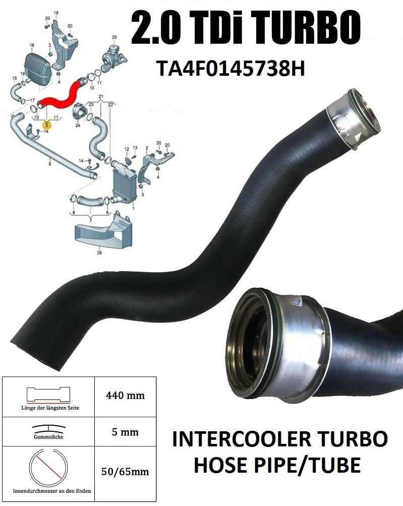 INTERCOOLER TURBO HOSE ENGINE PIPE 4F0145738Q FOR AUDI A6 (4F2, 4F5 C6) 2.0 Tdi