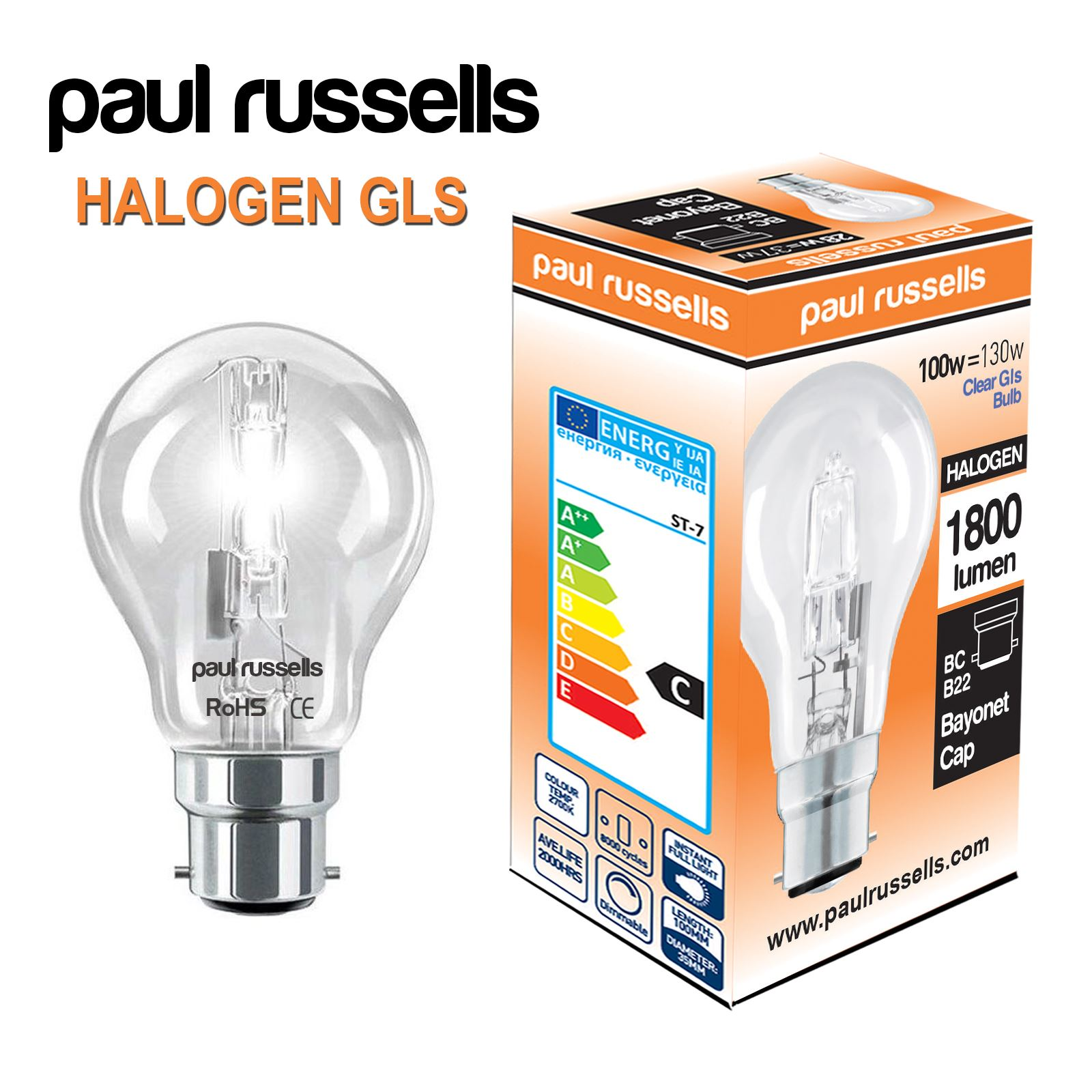 Halogen E14 Halogen Energy Saving Dimmable Gls Light Candle Bulb Golf