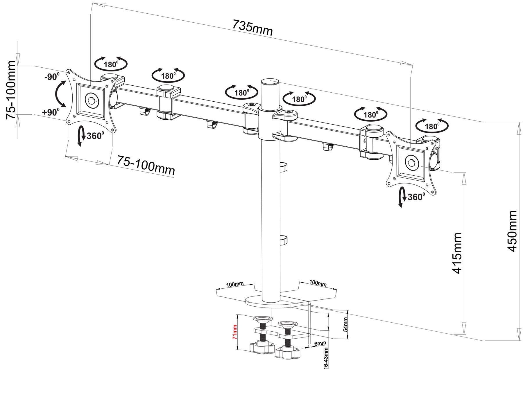 MDM12D Dual LED LCD Monitor Stand Desk Mount Bracket Tilt