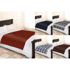 Sofa Throws Uk Only Navy Decor Soft Warm Single Double Tartan Check Throw Bed Fleece