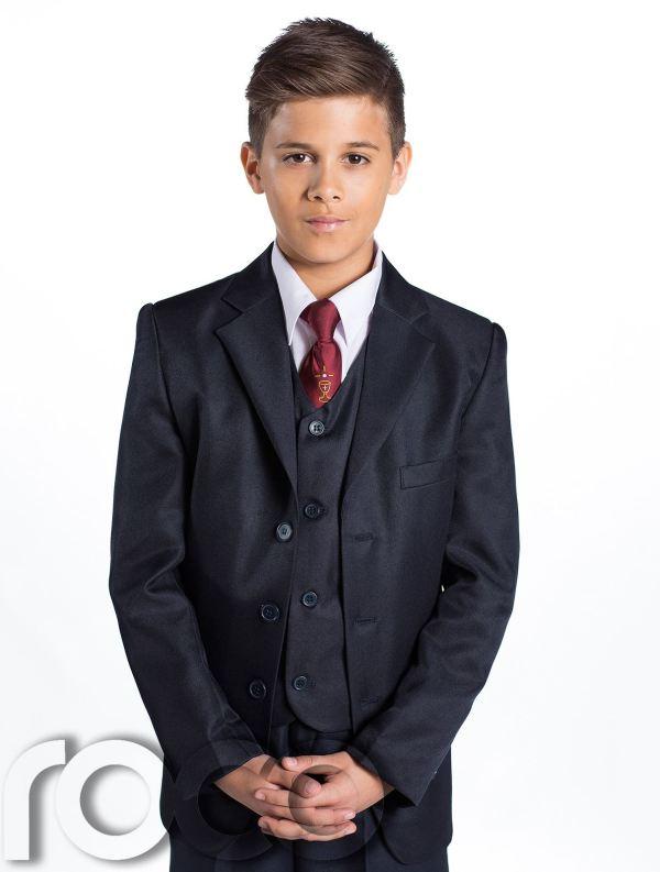 Boys Navy Suit Communion Chalice Tie