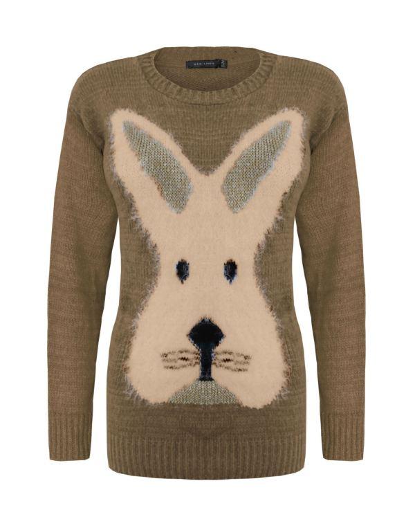 Ladies Womens Knitted Reindeer Christmas Xmas Rabit