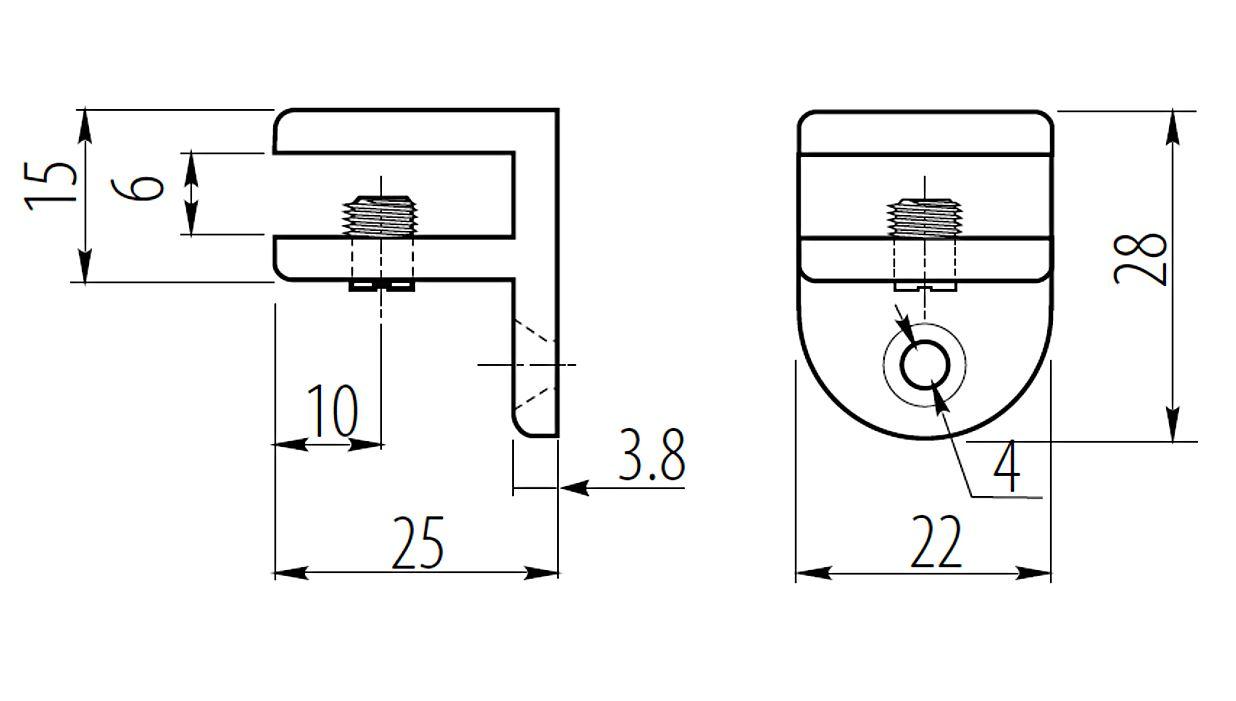 Hardware Chrome Shelf Bracket Glass Shelf Support 5mm Max