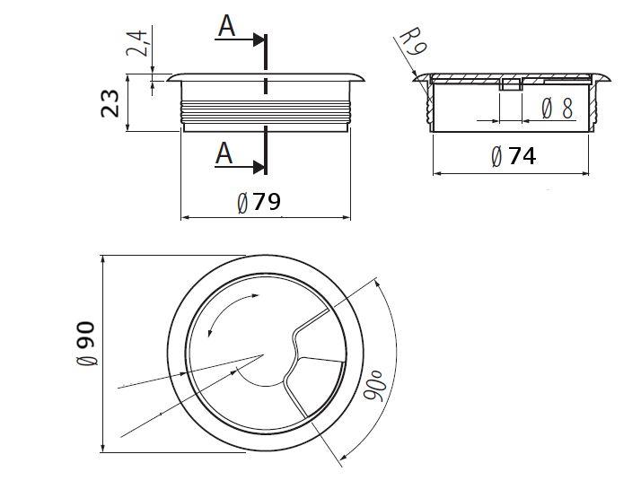 Passe cable passe fil plastique design diamètre 80mm