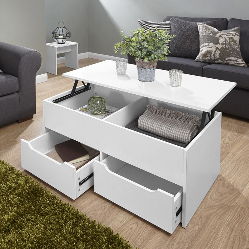 details about ultimate storage lift up coffee table split level top table large space white