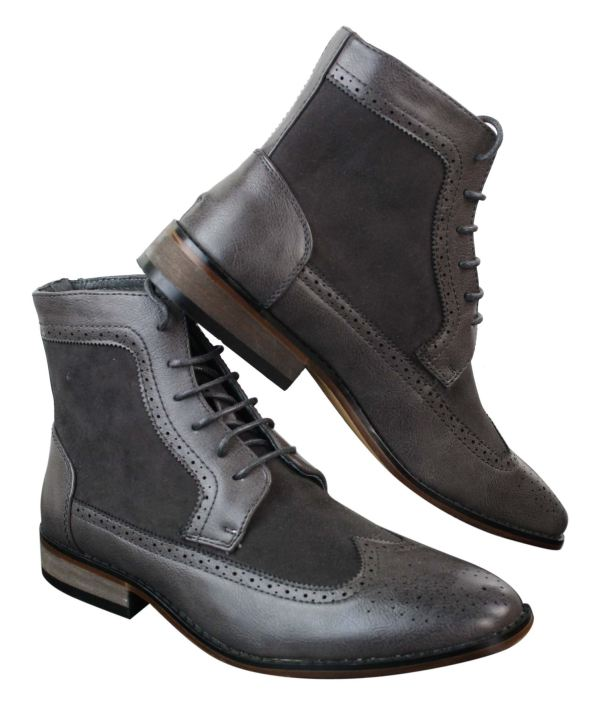 Mens Chelsea Brouge Ankle Boots Leather Suede Italian