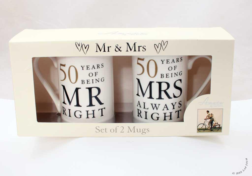 Wedding Anniversary Gift Set, Mr/Mrs Right Mugs 10th 25th