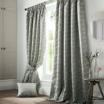 Jacquard Trees Green Grey Lined Pencil Pleat Curtains 9 Sizes Ebay