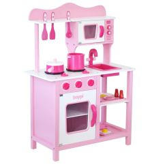 Wooden Toy Kitchen Backsplashes For Counters Childrens Girls Pink With 20 Piece Accessories Details About Pretend Set