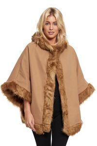 Ladies Celeb Womens Faux Fur Trim Hooded Poncho Coat Shawl ...