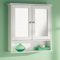 White Wooden Double Mirror Door Indoor Wall Mountable ...