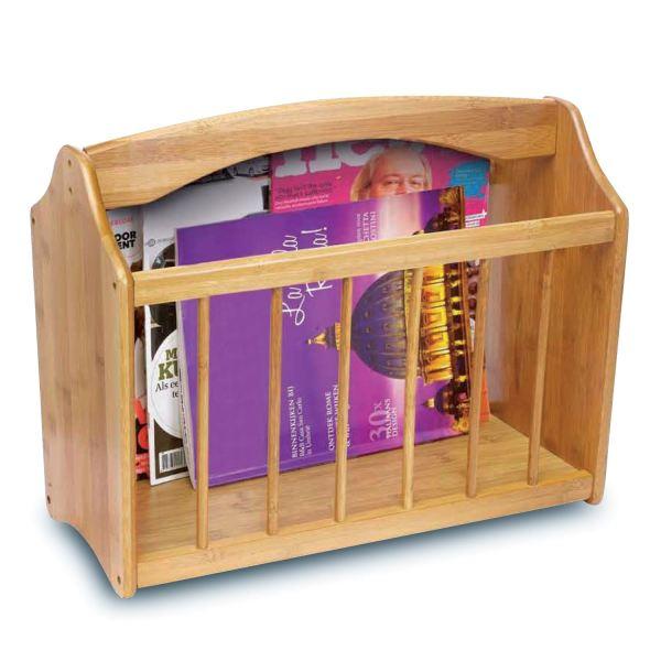 Magazine Rack Free Standing Wooden Mail Holder Storage Shelf Stand