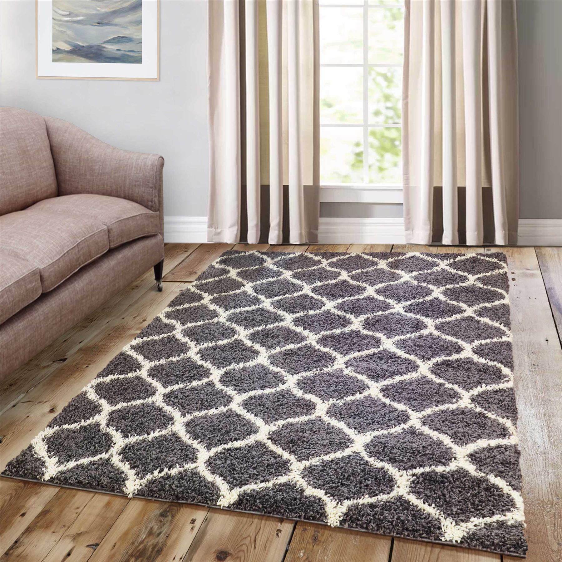 Large Thick Geometric Shag Rugs Assorted Colours Luxury Living Room Area Carpets   eBay