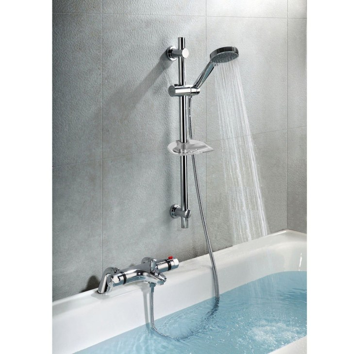 Details about THERMOSTATIC BATH SHOWER MIXER TAP DECK MOUNTED SHOWER VALVE  & SLIDER RAIL KIT