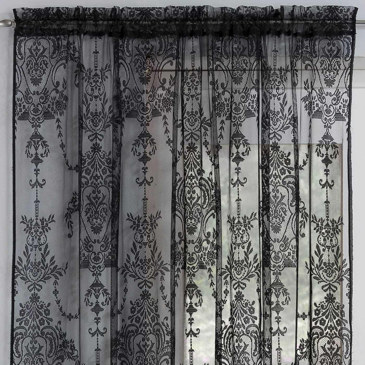 details about black voile curtain lace damask vintage slot panels rod pocket sheer voiles