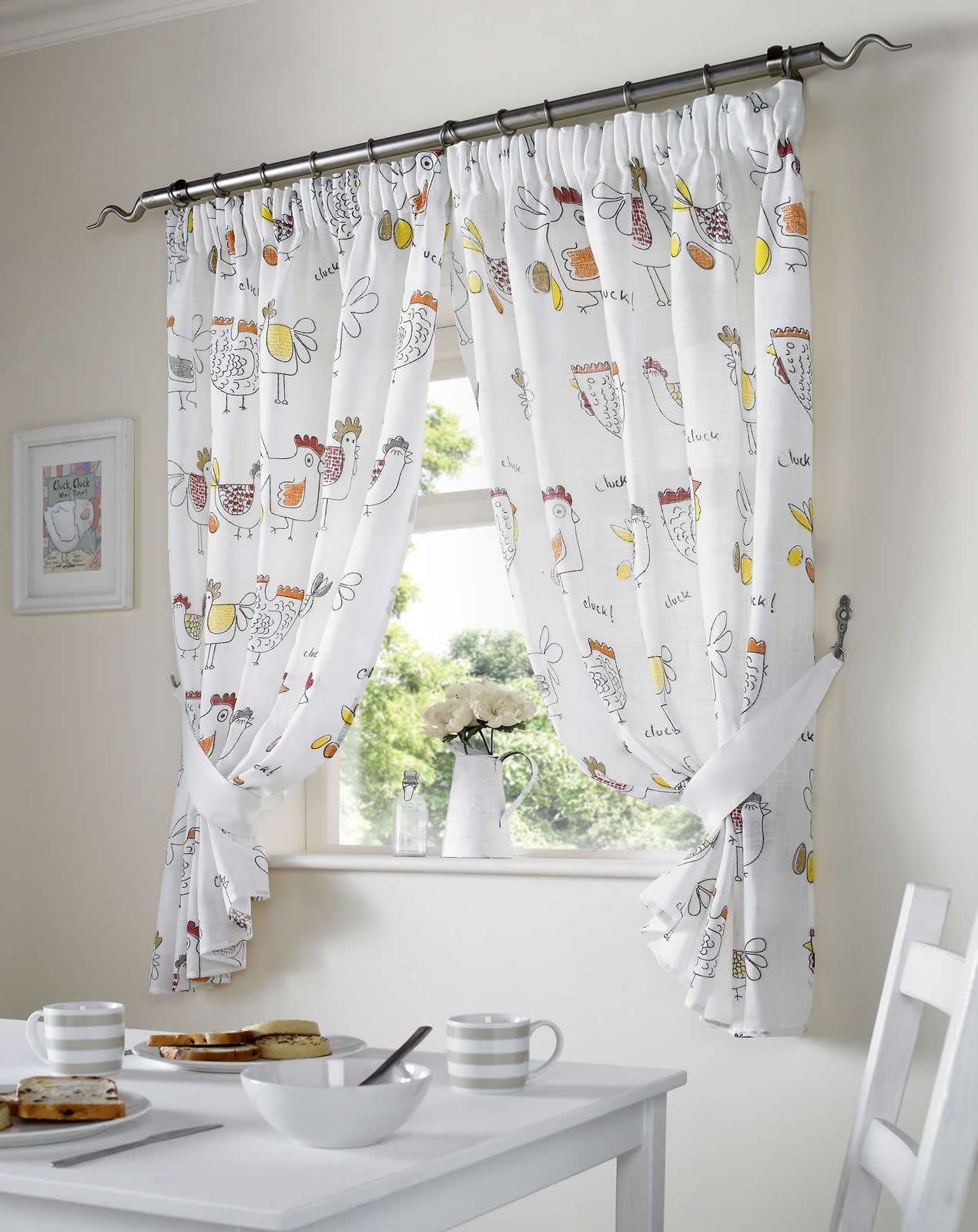valance curtains for kitchen swivel chairs chickens ready made pairs dining room
