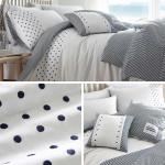 Navy Duvet Covers Polka Dot Stripe Reversible White Quilt Cover Bedding Sets Ebay