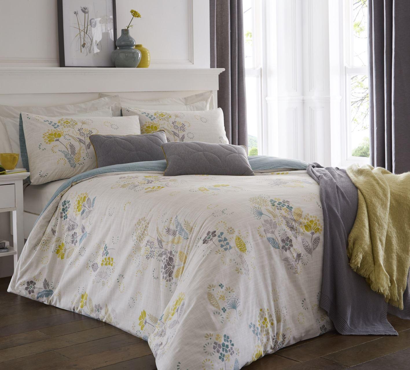Yellow Ochre Mustard Duvet Cover Quilt Set Pillow Case