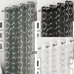 Kitchen And Bathroom Window Curtains Virtual Makeover Mexico Retro Circle Pattern Voile Curtain Panel Ready Made ...