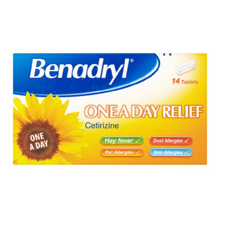 Benadryl One A Day Relief Cetirizine -14 Tablets 1 2 3 6 ...