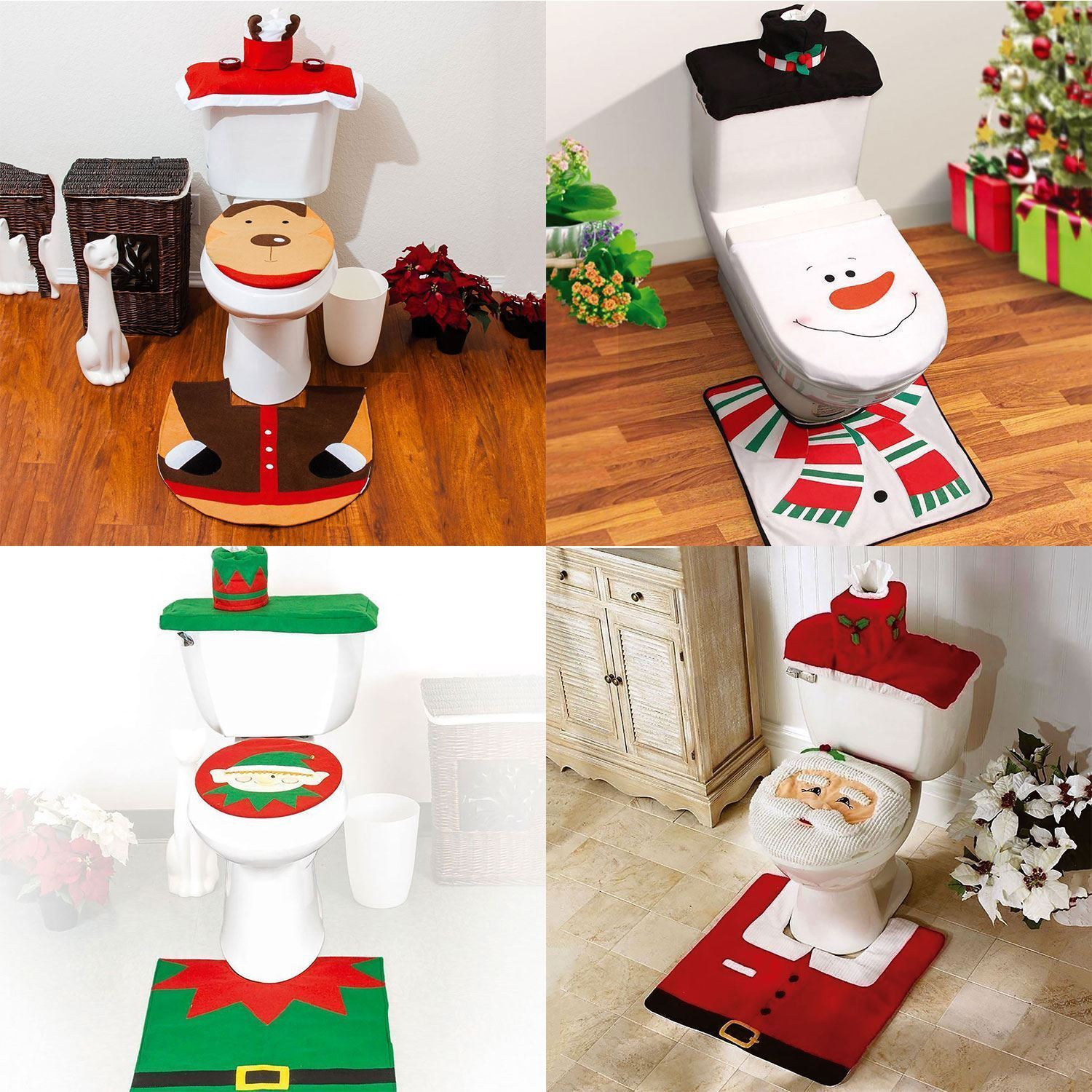 Snowman Bathroom Sets Details About Set Of 3 Christmas Festive Santa Elf Snowman Reindeer Toilet Seat Cover Bathroom
