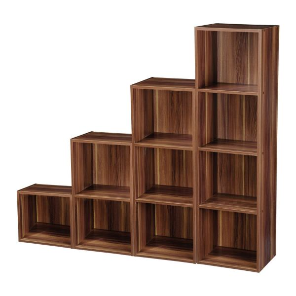 2-4 Tier Wooden Bookcase Shelving Bookshelf Storage Furniture Cube Display Unit