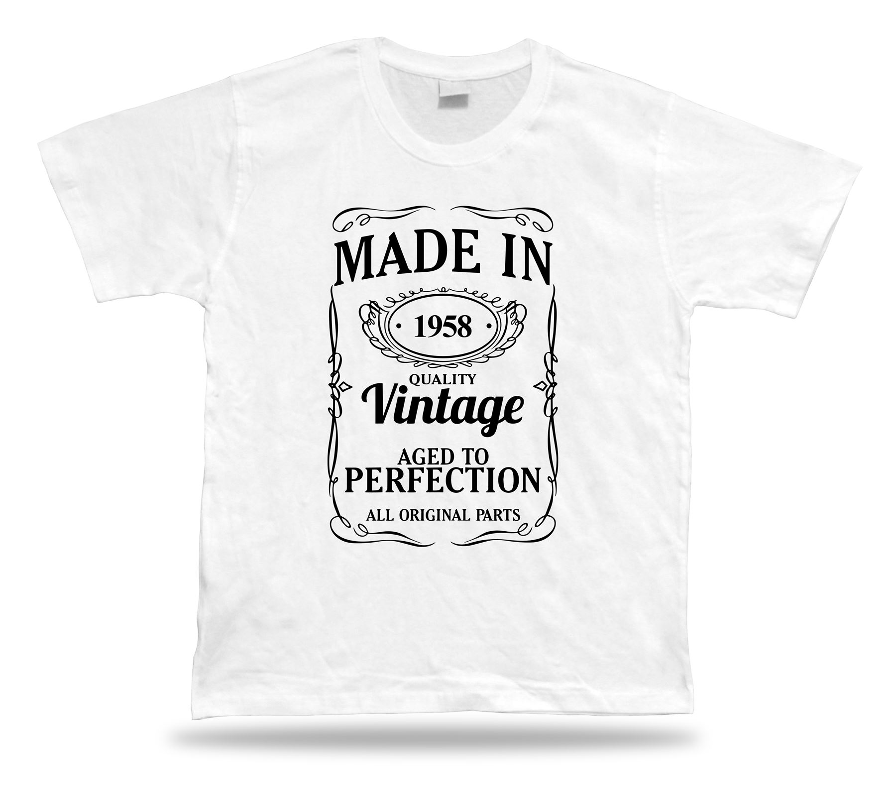 Printed T shirt tee Made in 1958 happy birthday present