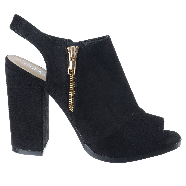 Femmes: chaussures Mesdames Womens Bloc Talon Zip Up bout ouvert Cut Out Bottines boots sandals shoes size Vêtements. accessoires crccs.com