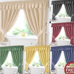 Kitchen Curtians Square Island Gingham Window Curtains Or Matching Pelmet Valance Ready Choose From Stylish And Pelmets
