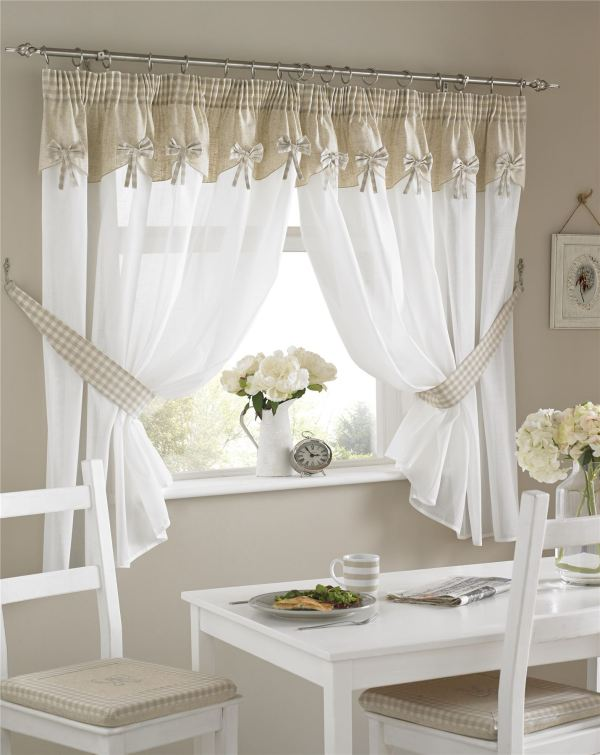 Kitchen Window Curtains Pair Voile Matching Pelmets Embroidered